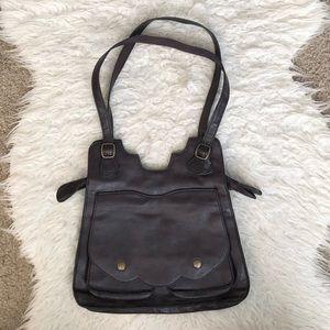 Anthropologie Kimchi Blue brown purse scalloped